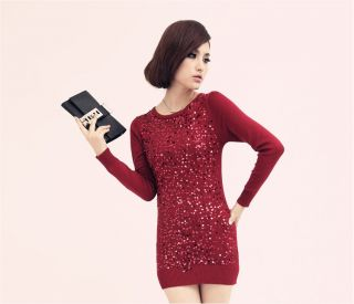 Sexy Sequined Knitted Wear Women's Sweater Dress Long Jumper Pullover Top S5169