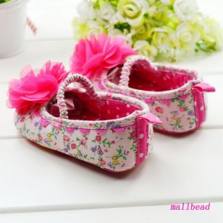 Baby Girl Toddler Infant Pink Flower Sole Crib Shoes Size 0 6 6 12 12 18 Months