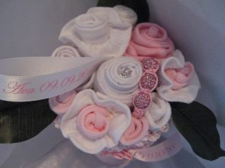Personalised Pink Princess Baby Shower Girl Clothes Bouquet Nappy Cake Gift