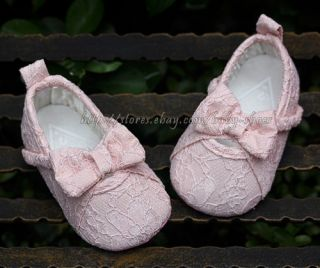 Baby Girls White Pink Mary Jane Soft Sole Lace Bow Walking Shoes Size 1 2 3