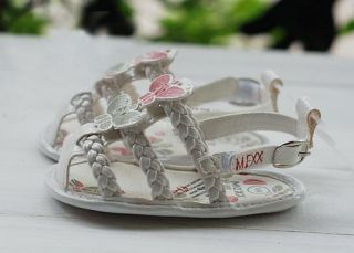 Baby Infant Girl White Butterfly Sandals Newborn Dress Crib Shoes US Size 1 2 3