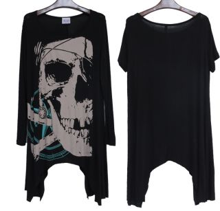 Womens European Fashion Skull Ghost Loose Long Sleeve Black Top T Shirt E603 TQ