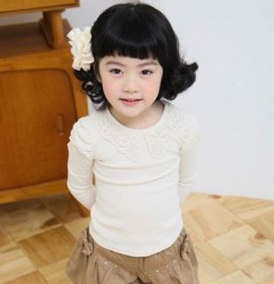 New Size 1 6Y Casual Girls Tops Kids Lace Long Sleeve T Shirt TG012