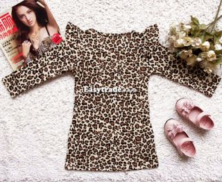 Fashion Kids Girl Long Sleeves Round Collar Casual Leopard Party Skirt Dress Top