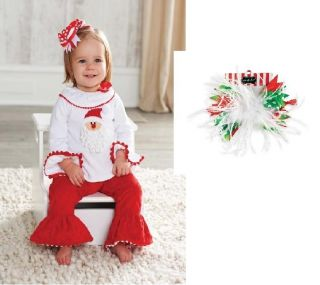 Mud Pie Baby Girls Christmas Santa Minky Pants Set 2 PC Outfit 111A050 Holiday