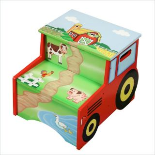 Teamson Design Happy Farm Wooden Step Stool with Storage   TD 11330A