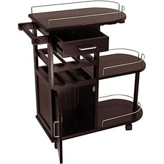 Winsome 35.9 x 35.4 x 15.39 Entertainment Cart With Glass Rack, Cabinet, Drawer, Dark Espresso