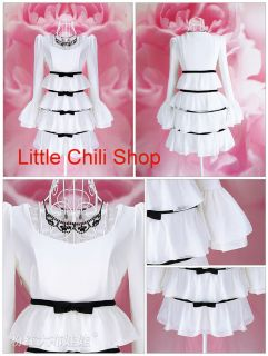Kawaii Fashion Dolly Sweet Lolita Cute Princess Sleeves Bows Cake Lace Dress