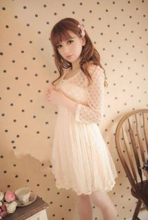 Girls Kawaii Princess Cute Sweet Dolly Gothic Lolita Short Sleeve Lace Dress