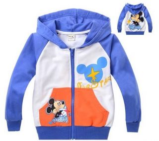 New Kids Coat Boys Girls Mickey Mouse Front Zipper Hoodies Clothes Size 2 8years