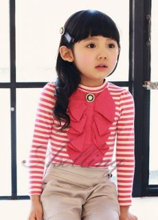 Fall Winter Kid Girl Toddler Striped Long Sleeve Bowknot Undershirt Top T Shirt
