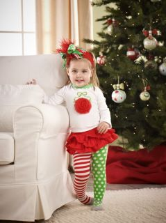 Mud Pie Baby Girl Little Elves Collection Ornament Tunic Skirt Christmas Set New