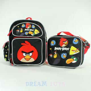 "Angry Birds Shooting 12"" Small Toddler Backpack and Lunch Bag Set Boys Girls"