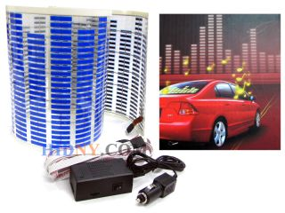 Sound Music Activated Sensor Light Equalizer Blue LED 12V Car Sticker 90x25 Cm