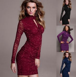 Womens European Fashion Sexy Lace Long Sleeve V Neck Mini Dress 4 Colors S147