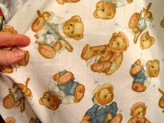 "Per Yard 45"" Poly Cotton Teddy Bear Print Baby Fabric Material"