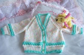 Hand Knitted Baby Cardigans Sizes 0 3mths 3 6mths Colour Choice Brand New