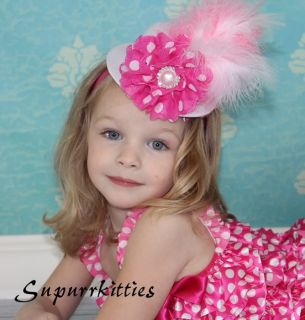 White Hot Pink Polka Dot Flower Feather Baby Mini Top Hat Photo Prop Toddler