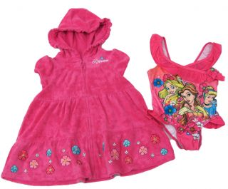 Disney Princess Girls 3T Pink Terrycloth Cover Up Swimsuit Set