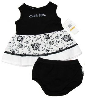 Calvin Klein Baby Girls Black White Dress Diaper Cover Set $38