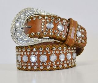 W6171 New Stitched Western Buckle Crystal Stud Faux Leather Belt Multicolor s M