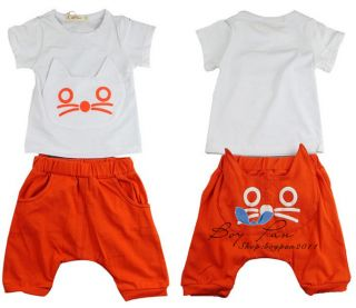 Kids Clothing Cute Boys Girls Cats T Shrits Tops and Shorts Outfits Sets AGE2 7Y