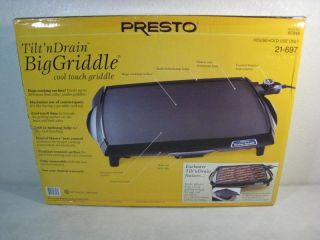 Brand New Presto 07046 Tilt'N Drain Big Griddle Cool Touch Electric Griddle