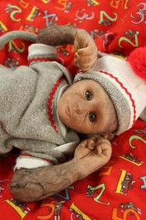 Super Cute Sock Monkey Baby OOAK Capuchin Hand Sculpted Doll by Emily Jameson