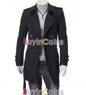 Hot New Men's Slim Fit Double Breasted Strap Trench Coat Long Jacket Overcoat