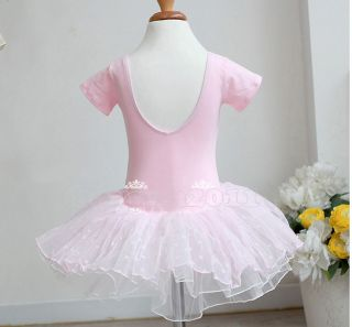 New Kid Girl Party Dancing Leotard Ballet Short Sleeve Tutu Skirt Dress Age 2 7Y