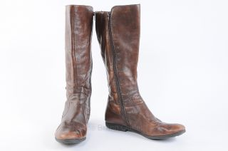 Born Sage 11 M Walnut Brown Knee High Boot Button Round Toe Flat Shoe $190