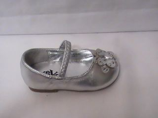 Baby Girl Silver Ballet Flat w Flower 53 Infant SIZE0