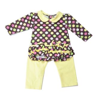 New Baby Girls Clothing 2 Pieces Set Long Sleeve Dots Shirt and Yellow Pants
