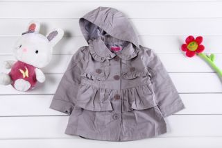 Baby Kid Girl Ruffle Hooded Parka Jacket Trench Coat Outerwear Clothes 12M 5yrs