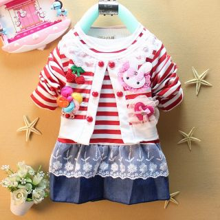New Kid Girls Toddler Striped Clothes Red Flower Layered Lace Dress Skirts 2 6Y