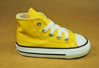 Converse All Star Hi Top Infant Baby Shoes Yellow White Toddlers Size 708943F