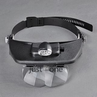 LED Light Lamp w Headband Magnifying Glass Magnifier Loupe for Watch Repair Set