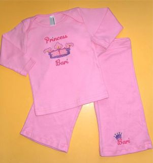Personalized Custom Baby Girl Pink Princess Crown Shirt Pants Outfit Set Gift