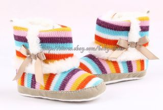 Baby Girls Colorful Strip Boots Knitted Fur Shoes Size Newborn to 18 Months