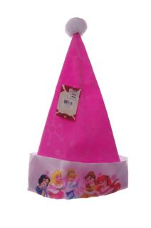 Disney Princess Girls Pink Santa Claus Hat Christmas Cinderella Belle Ariel New