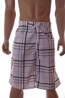 NBN Gear Mens White Black Plaid Big Tall Swim Swimming Trunks 42 44 2XL 2X New