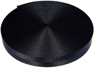 "1"" 10 Yards 2 Panel Black Lite Weight Nylon Webbing Strapping CLOSEOUT"