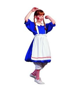 Raggedy Ann Rag Doll Child Costume Clown Girl Dress Halloween Costumes 91229