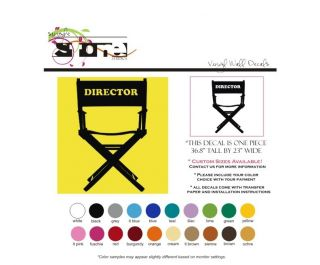 Wall Vinyl Art Decal Theater Movie Director's Chair