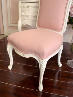 Shabby Cottage Chic White Pink Linen Slipper Petite Vanity Chair Floral Cute