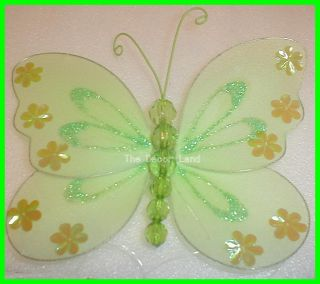 "6"" Green Sequin Glitter Butterfly Wall Hanging Decoration for Girls Room Diva"