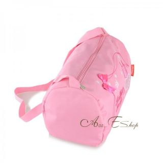 Girls Kids Ballet Dance Duffle Zippered Embroidered Tote Shoulder Bag Pink Gift