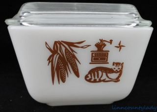 Vtg Pyrex Early American Refrigerator Dish Ribbed Lid Cat Corn Coffee Fr SHP