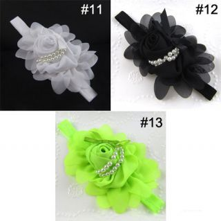 Baby Girl Toddler Elastic Rose Flower Pearl Headband Hairband Hair Band 13 Color
