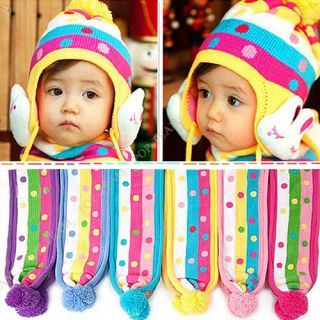 2in1 Baby Boy Girl Toddler Winter Warm Earflap Hat Cap Scarf for1 4yrs T26